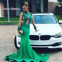 ingrosso abiti da gala verde-Abito da cerimonia formale per sirena verde Arabia Saudita africana Abiti da ballo per donna 2020 Abito lungo da sera Abiti da sera