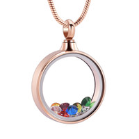 Wholesale stainless steel snake chain round resale online - IJD9821 Glass Cremation Jewelry Inside Colorful Birthstone Round Stainless Steel Memorial Locket Necklace For Ashes For Women