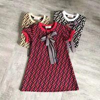 padrão de gravata de malha venda por atacado-Meninas Vestidos De Grife 2019 New Luxury FF Vestido Estilo College Bow Tie Knit Sweater Vestido Crianças Simples Bonito Carta Vestido Padrão 2 PCS