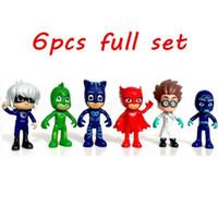 avengers bebek seti toptan satış-Avengers pjmasks rakam 6pcs / 8-9cm Pj Maskeleri Karakterler Catboy Owlette Gekko Cloak Aksiyon figürleri çocuklar oyuncakları Hediye Plastik Bebekler A001 set