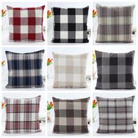 almohada de navidad al por mayor-Funda de almohada a cuadros Patrón de verificación Funda de almohada Fundas de almohada cuadradas de navidad de navidad Tartán Diseño Ropa de cama de algodón Textiles para el hogar GGA1447