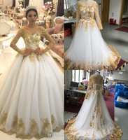 Wholesale off white t strap resale online - Luxury Gold Sequined Ball Gown Weddin Dress Dubai Arabic Long Sleeves Court Train Plus Size Bridal Gown Cstom Made