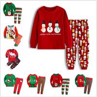 roupa de dormir de papai noel venda por atacado-Christmas Baby Tema Pijama Suit Meninos dos desenhos animados Papai Noel listrado Casual Roupas crianças meninas roupas casa Pijamas Pijamas LJJA3244-2