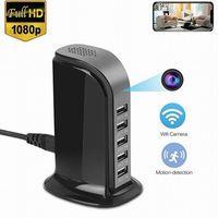 redes de vídeo venda por atacado-HD WIFI Estação de Carregamento USB câmera 1080 p 5-USB Carregador de porta de vídeo câmera de rede sem fio home office filmadora de segurança