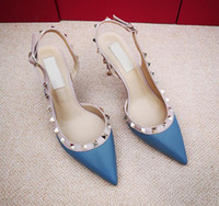 Wholesale shoes casual woman high for sale - Group buy fashion women pumps Casual Designer Gold matt leather studded spikes slingback high heels shoes