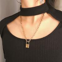 candado con llave al por mayor-Collar colgante de candado con llave de moda para mujer Collar de candado dorado / plateado Cadena en el cuello con joyería de punk de bloqueo