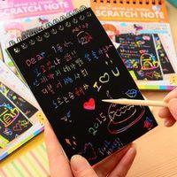 nette notizblöcke für kinder großhandel-1 stück 2019 diy nette kawaii spule graffiti notebook black page magic painting notepad für kinder notepad schreibwaren geschenk