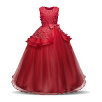 Wholesale flowers girls frock resale online - Flower Girl Long Dress Christmas Party Wear Kids Clothes Party Dresses For Girl Frocks Children s Costume Teenage Girl Ceremony J190505