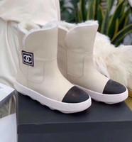 botas de invierno antideslizantes al por mayor-C C Marca Mujeres Botines de Cuero Para Mujer Diseñadores Zapatos Mejor Calidad Botas Para Damas Botas de Nieve de Invierno Más Tamaño envío gratis