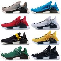 siyah erkekler spor koşu ayakkabıları toptan satış-Ucuz adidas nmd Turuncu NMD İnsan Yarış parkuru Koşu Ayakkabıları Nerd siyah krem Erkek Kadın Pharrell Williams HU Koşucu Sarı Beyaz Kırmızı spor koşucu sneake