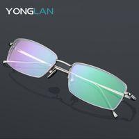 Wholesale optic designs resale online - Men s Pure Titanium Optical Glasses Semi Rimless Glasses Frame Design Myopia Optics Eyewear Clear Lens Gafas Goggles oculos