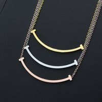 Wholesale smile pendants resale online - 2019 new New Titanium stainless steel rose T necklace female short gold chain pendants for woman Smiling face love necklace