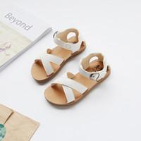 ingrosso pattini di vestito dalla principessa delle ragazze bianche-Summer Princess Girls Sandali Beach Shoes For Girls Dress Shoes Oro Bianco Nero 21-30