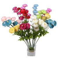 flores de loto decoración para el hogar al por mayor-Pequeño Loto Flores Artificiales Pantalla Azul Amarillo Día de San Valentín Boda Simulación Romántica Flor Salón Decoración para el hogar 3 3hlD1