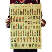 cocina mural al por mayor-Cerveza Enciclopedia de la pared impresiones gráfico historia evolutiva Barra de cocina adorno retro etiqueta
