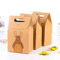 Wholesale chocolate packs for sale - Group buy Kraft Paper Gift Box Christmas Santa Claus Elk Cartoon Gift Packing Handheld Small Candy Bag