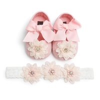 Wholesale fabric flowers for shoes resale online - New Baby Girl Princess Shoes Headdress Set Baby Soft Bottom Anti slip Toddler Shoes Infants Lace Flower for Gift