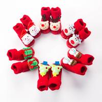 Wholesale infant toddler socks resale online - Infant Christmas Socks Baby Xmas Newborn Anti Slip Sock Cartoon Cute Winter Warm Floor Socks Toddler First Walker Kids Clothing M730