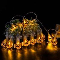 fenerler için ışıklı teller toptan satış-10 Asma LED Cadılar Bayramı Dekor Pumpkins / Hayalet / Örümcek / Kafatası LED Işıklar Fenerler Lamba DIY Ev Açık Parti Sarf Malzemesi