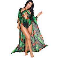 şık v yaka elbiseleri toptan satış-Moda Baskı Kadınlar Seksi derin V Yaka 2 parça (Tek Parça Bikini + Kapak Up Elbise) Plaj Mayo 02 Mayo