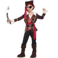 halloween kostümleri jack toptan satış-çocuklar erkek korsan Kaptan Jack Sparrow kostüm şapka çocuk Cosplay Karnaval için yeni yıl Cadılar Bayramı kostümü