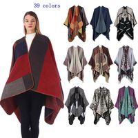 casacos de malha de caxemira xales venda por atacado-Poncho xadrez Viagem Vintage Wrap Knit Cashmere Cape Scarf Inverno Quente Xale Cardigan Cobertores Manto Casaco Camisola MMA2428