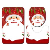Wholesale sticky door resale online - Christmas Bathroom Toilet Seat piece Sets Fashion Pattern Floor Mat Door Mat Tide Bathroom Carpet Christmas Decorations