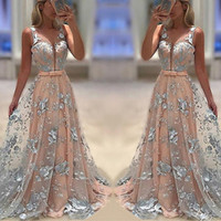 Wholesale tiered organza line dress resale online - 2019 Cheap Prom Dresses Evening Gowns Sexy Embroidered Flower Deep V Neck Sleeveless Backless A Line Ball Gown Long Formal Party Dress