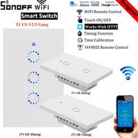din ray kutuları toptan satış-Sonoff T1 Google Ev Alexa ABD Akıllı Ev ile Çalışmak WiFi RF Uzaktan Kumanda Duvar Işık Anahtarı Paneli Duvar Dokunmatik Işık Anahtarı