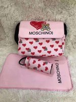 Wholesale large nappy bags resale online - Baby Designer Diaper Bags with USB Interface Large Capacity Waterproof Nappy Bag Kits Mummy Maternity Bag change Mat bottler Holder