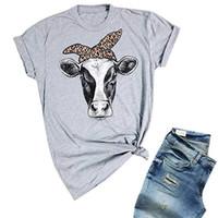 kadınlar polyester pamuk üstleri toptan satış-Yeni İnek Bayan t-shirt Kısa Kollu Çiftlik Gömlek Yaz Pamuk Grafik TopsTee Bağımsızlık Günü kadın Tshirt