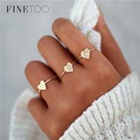 ingrosso colore bague-2018 New Heart Shape A-Z Initial Ring Argento colore oro accatastamento personalizzato lettera Anelli per le donne Bague Femme Nome gioielli