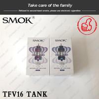 tanques de sub ohmios originales al por mayor-SMOK TFV16 TANK 9ml TFV16 Sub ohm Atomizador de malla con bobinas dobles de malla triple Mejor sabor Max Airflow King Returner 100% Original