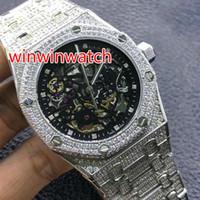 mens relógio vidro apoiado venda por atacado-Completa iced out watch subiu de ouro e prata case assistir vidro de volta de alta qualidade mens diamante completo relógio de pulso de cristal de safira automático