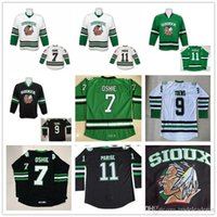ingrosso maglia hockey universitaria-North Dakota Fighting Sioux 7 TJ Oshie 11 Zach Parise 9 Jonathan Toews Blank Green Black White University Stitched Hockey Jerseys