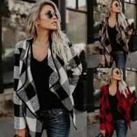mulheres de jaqueta assimétrica venda por atacado-Jacket Mulheres Plaid queda lapela Inverno Neck Outwear Moda Casacos de manga longa assimétricas Jackets xadrez roupas casa GGA1553