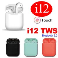 Wholesale earphones online - i12 TWS Touch Wireless Earbuds Double V5 Bluetooth Headphones ture stereo Earphones wireless headset earbuds with touch control SIRI