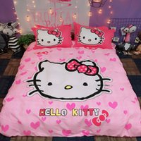 Wholesale beautiful king size bedding online - Pink white hello kitty bedding sets new fashion duvet covers sets beautiful cute twin queen king size flat sheet bedclothes