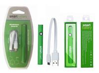 bateria embutida da bateria usb venda por atacado-Smartcart bateria verde inteligente 380 mah de pré-aquecimento de tensão variável de fundo usb bateria de carregamento para o cartucho de óleo grosso 510thread