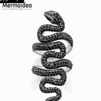 ingrosso uomini di gioielli-Anello lungo serpente nero Muffiy Rebel Good Jewerly For Man Donna 2019 Regalo Argento Super offerte