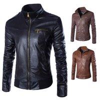 cavaleiro sólido venda por atacado-Nice pop outono homens jaqueta bomber gola moda inverno sólido parkas slim fit rider biker jacket casual clothing z20