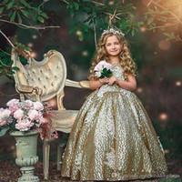 ingrosso sequin bianco che borda abito corto-Prety Flower Girls Dresses Jewel Short Capped Sleeves Abiti di compleanno Backless Beading con pizzo bianco Applique Bow Abiti su misura del partito