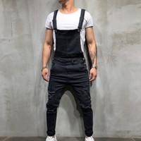 hohe mode herren overalls großhandel-Mens Jeans Lässige Hiphop Hosen Mode Männer Zerrissene Jean Overalls High Street Distressed Denim Overalls Für Mann Hosenträgerhose