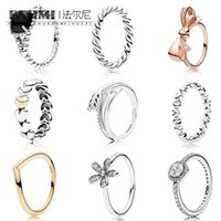 925 pfeilring großhandel-FAHMI 100% 925 Sterling Silber Eleganz Dazzling Daisy Ring Rose Bow TWISTED SEILRING KETTE DER HERZEN Sparkling Arrow Ring