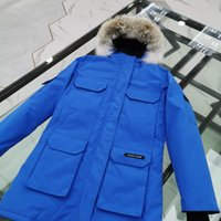 Wholesale blue fox hats resale online - Superstar winter new luxury men s work long coat fashion casual warm goose down out suit red blue fox fur thick down jacket