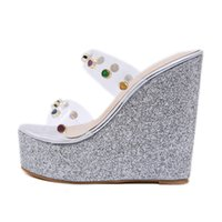 Wholesale 14cm wedges resale online - 2019 Women Summer Crystal Rivets Wedges cm High Heels Sandals cm Platform Elegant Sequins High Heels Fashion Sparkly Shoes