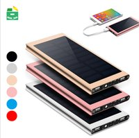 Wholesale branded solar charger online – Solar Power Bank Dual USB Output External Battery Outdoor Travel Charger Powerbank mAh For Smart Phones
