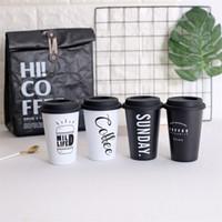 tapa de la taza de café blanco al por mayor-Taza blanca negra del jugo del viaje del acero inoxidable de la taza de café del estilo nórdico con el vaso delicado del vintage 12 73qd Ww
