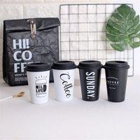 ingrosso coperchio nero tazza-Tazza da caffè da viaggio in acciaio inossidabile in stile nordico bianco nero con coperchio e bicchiere d'epoca delicato 12 73qd Ww