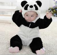 bebek yürümeye başlayan çocuk panda toptan satış-Yenidoğan Tulum Toddler Bebek Hayvan Romper Kıyafetler Sevimli Panda Tulum Tulum Kostüm Yumuşak Pamuklu Giysiler 0-24 M